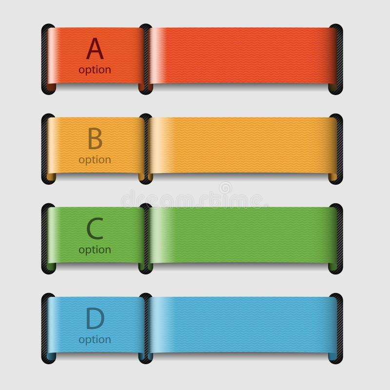 Quattro nastri colorati con i dati illustrazione di stock