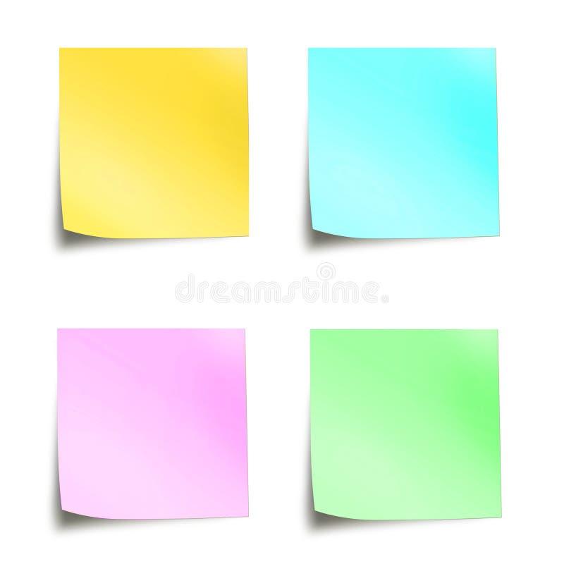Quattro note appiccicose colorate pastello fotografia stock libera da diritti