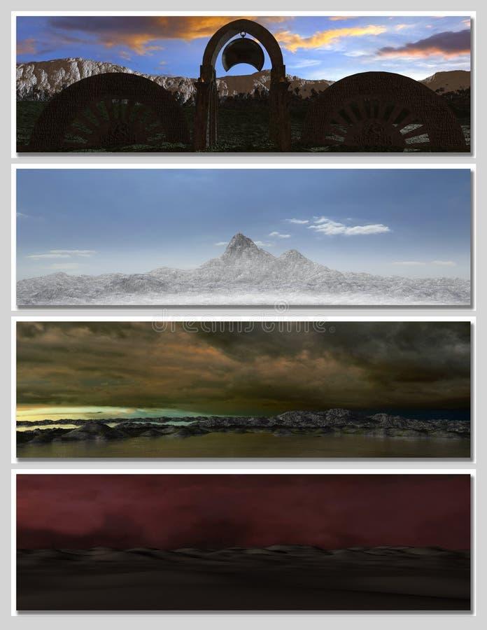 Quattro paesaggi differenti di fantasia per la bandiera, illustrazione vettoriale