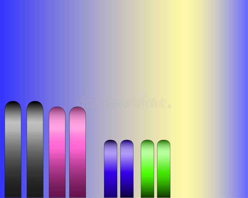 Quattro paia degli sci su un fondo blu illustrazione di stock