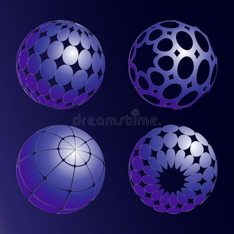Quattro palle blu Illustrazione di vettore royalty illustrazione gratis
