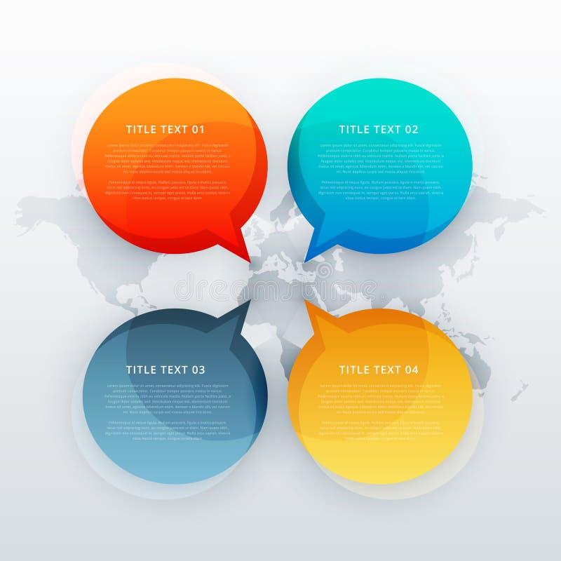 quattro parlano la bolla di chiacchierata nello stile infographic del modello illustrazione di stock
