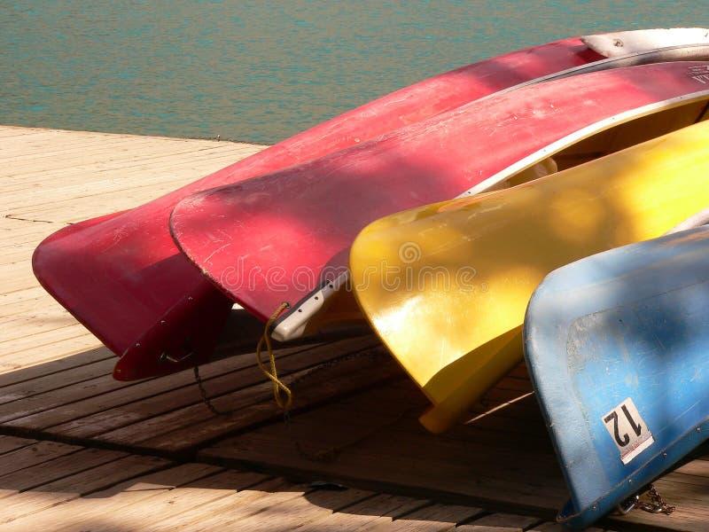 Quattro parti inferiori della canoa fotografie stock libere da diritti