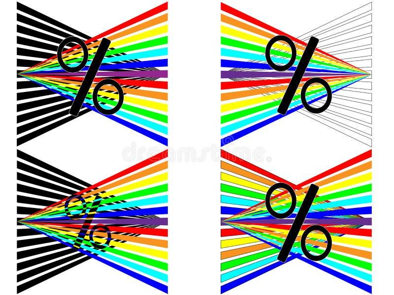 Quattro per cento dell'arcobaleno per mostrare le vendite fotografia stock libera da diritti