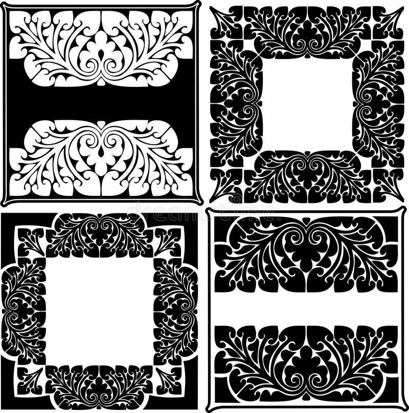 Quattro quadrati decorati in bianco e nero. illustrazione vettoriale