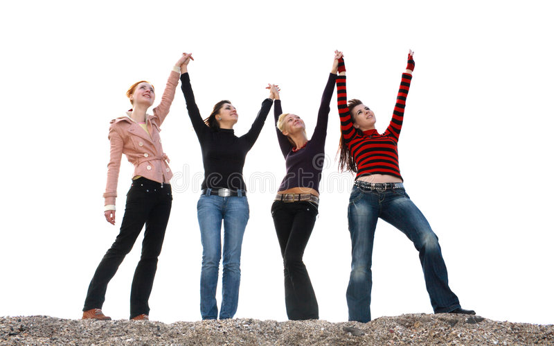 Quattro ragazze che hanno divertimento immagini stock