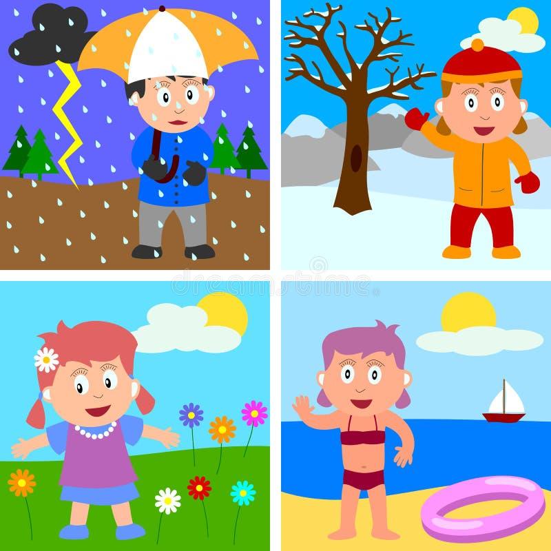 Quattro ragazze di stagioni royalty illustrazione gratis