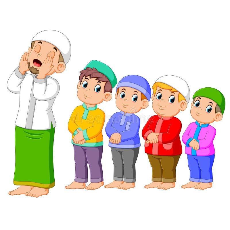 quattro ragazzi stanno pregando insieme alla posa di destra illustrazione di stock
