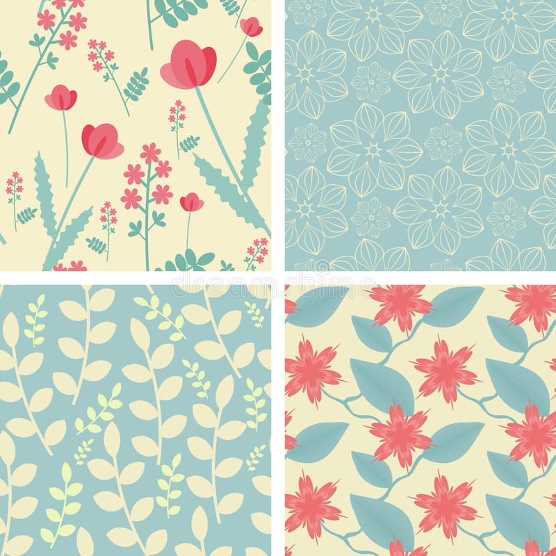 Quattro reticoli senza cuciture floreali royalty illustrazione gratis