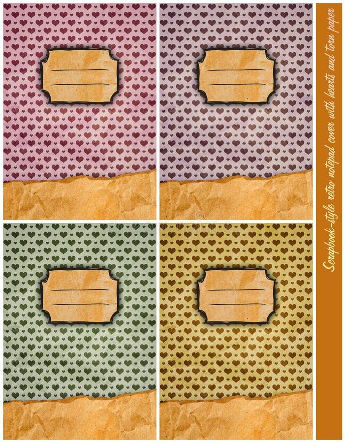 Quattro retro coperture del blocchetto per appunti di Album-stile fotografie stock
