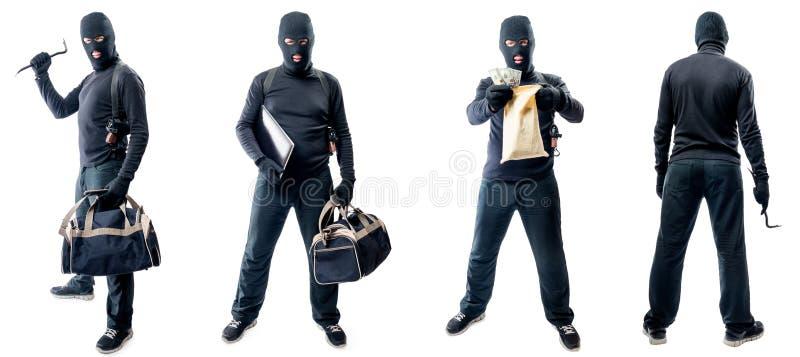 Quattro ritratti integrali di un ladro in una maschera immagini stock libere da diritti