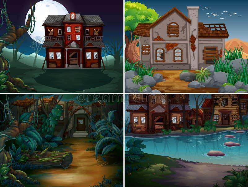 Quattro scene con le case frequentate in foresta royalty illustrazione gratis