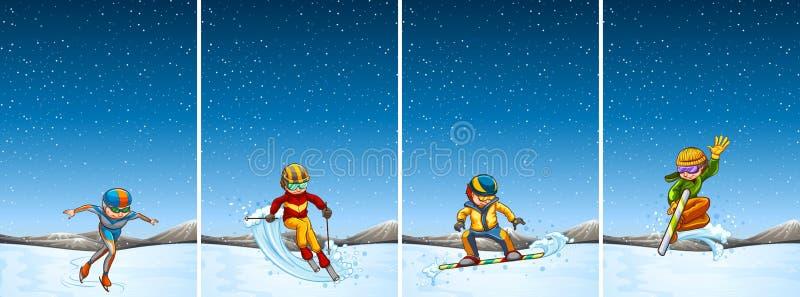 Quattro scene con lo sci e lo snowboard della gente illustrazione di stock