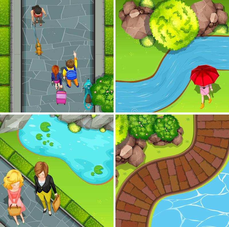 Quattro scene del parco con la gente illustrazione di stock