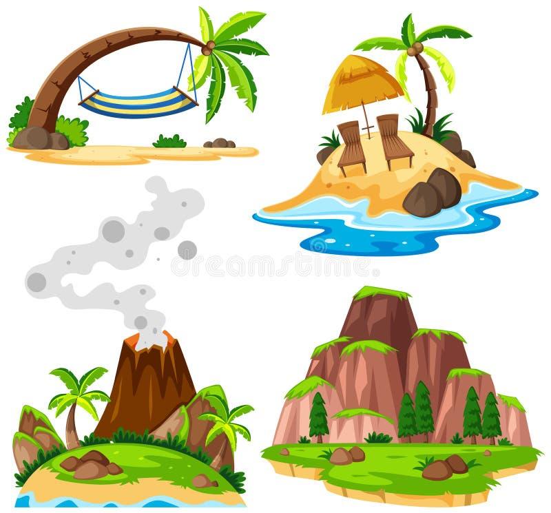 Quattro scene dell'isola e della spiaggia illustrazione vettoriale