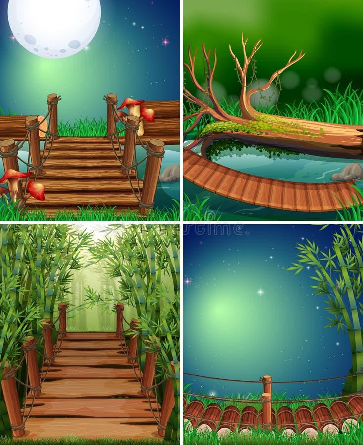 Quattro scene della foresta alla notte royalty illustrazione gratis