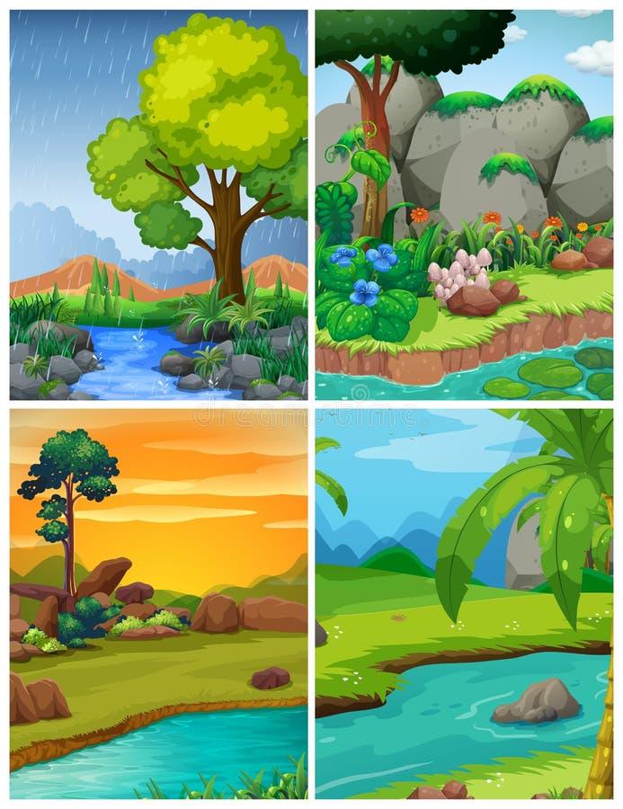 Quattro scene della foresta con i fiumi illustrazione vettoriale