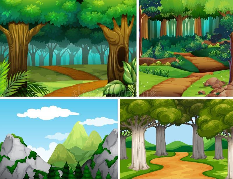 Quattro scene della natura con la foresta e la montagna royalty illustrazione gratis