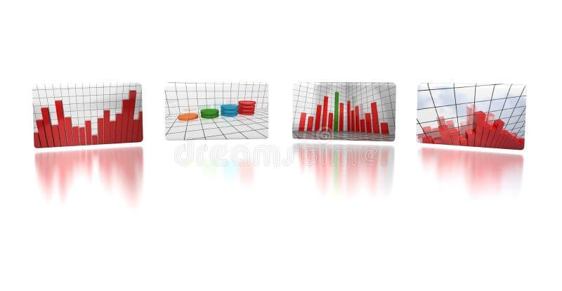 Quattro schermi di rapporto di affari royalty illustrazione gratis