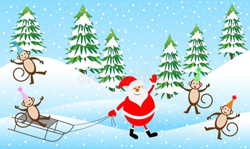 Quattro scimmie divertenti e Santa Claus nella foresta di inverno illustrazione vettoriale