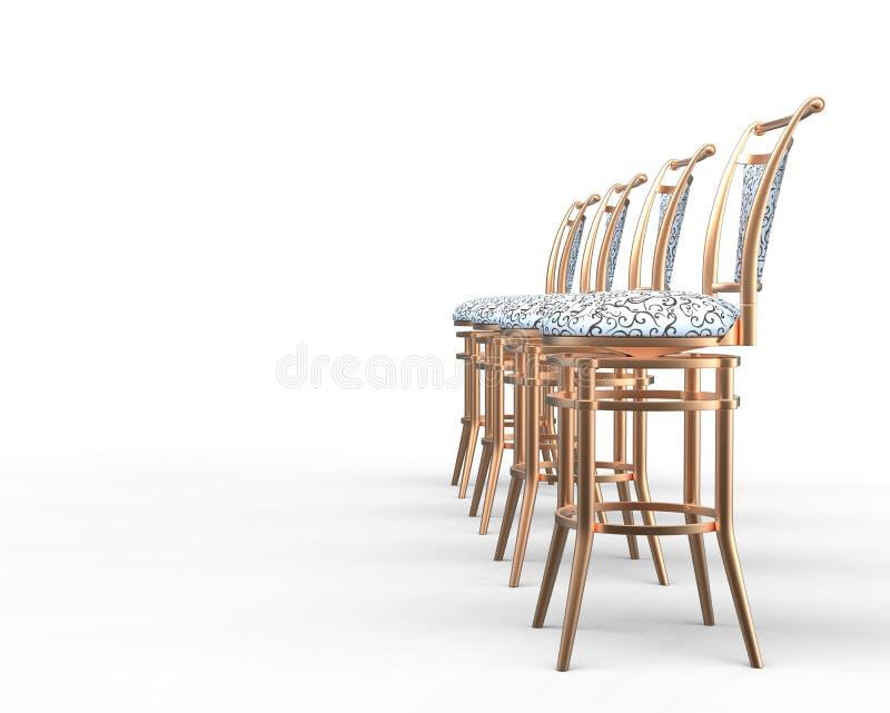 Quattro sedie della caffetteria su fondo bianco illustrazione vettoriale