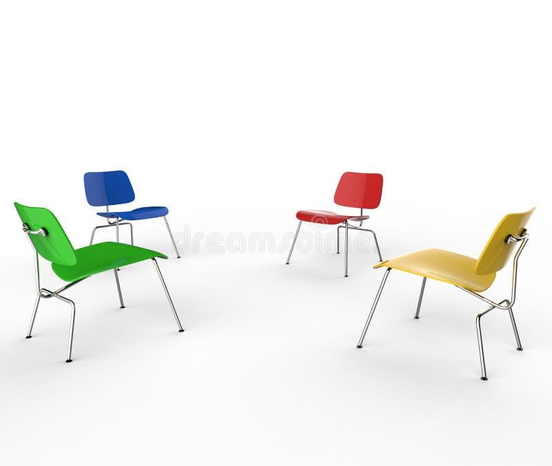Quattro sedie di colore royalty illustrazione gratis