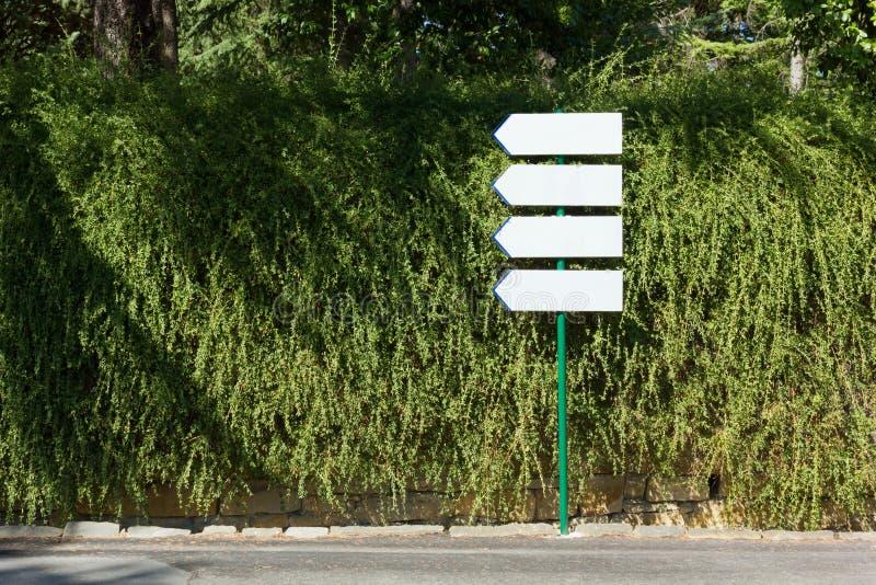 Quattro segnali di direzione contro una parete del rampicante fotografia stock