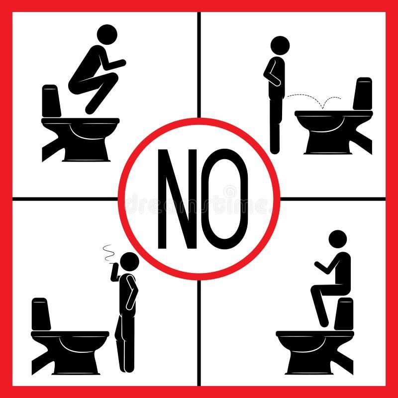 Quattro segnali di pericolo usano la toilette immagine stock