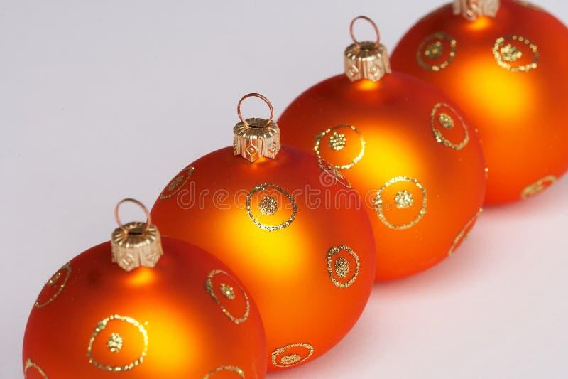 Quattro sfere dell'albero di Natale fotografie stock