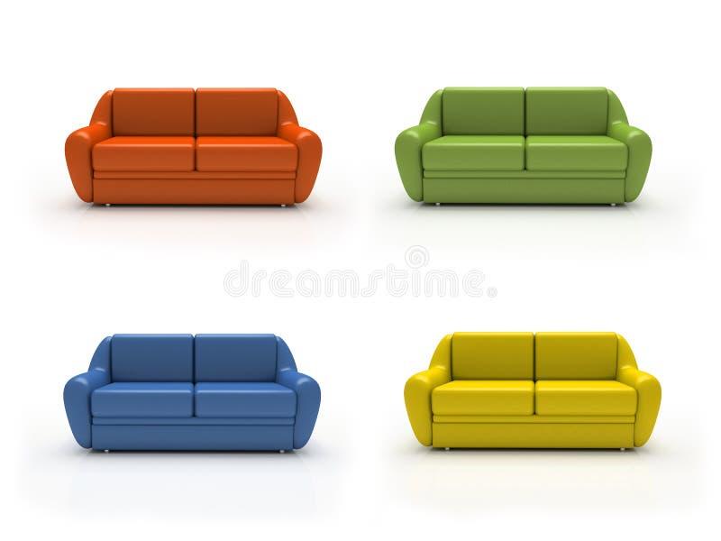 Quattro sofà colourful isolati su priorità bassa bianca illustrazione vettoriale