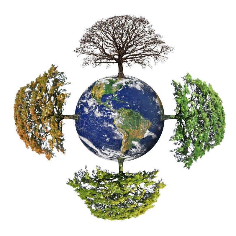 Quattro stagioni della terra del pianeta illustrazione di stock