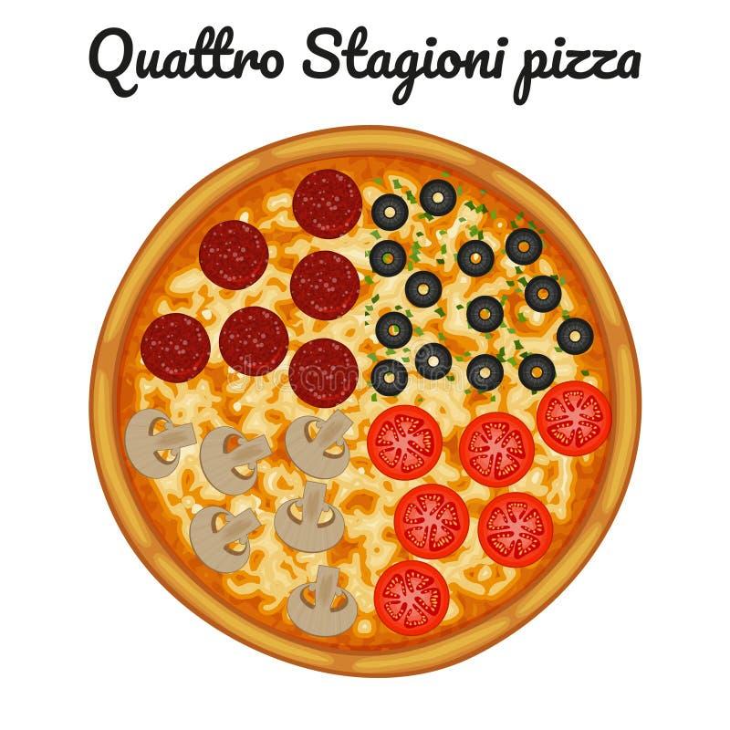 Quattro stagionipizza med peperonin, oliv, champinjoner, tomat vektor illustrationer