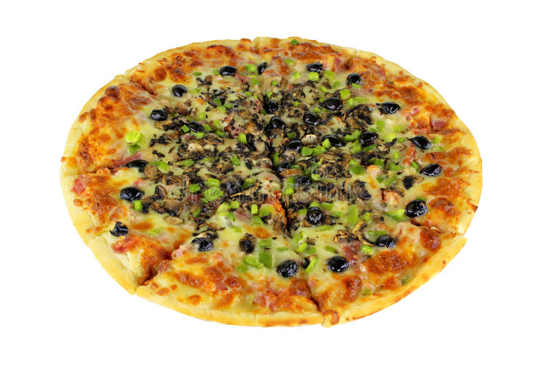 Quattro Stragioni Pizza Complete Isolated royalty free stock photo
