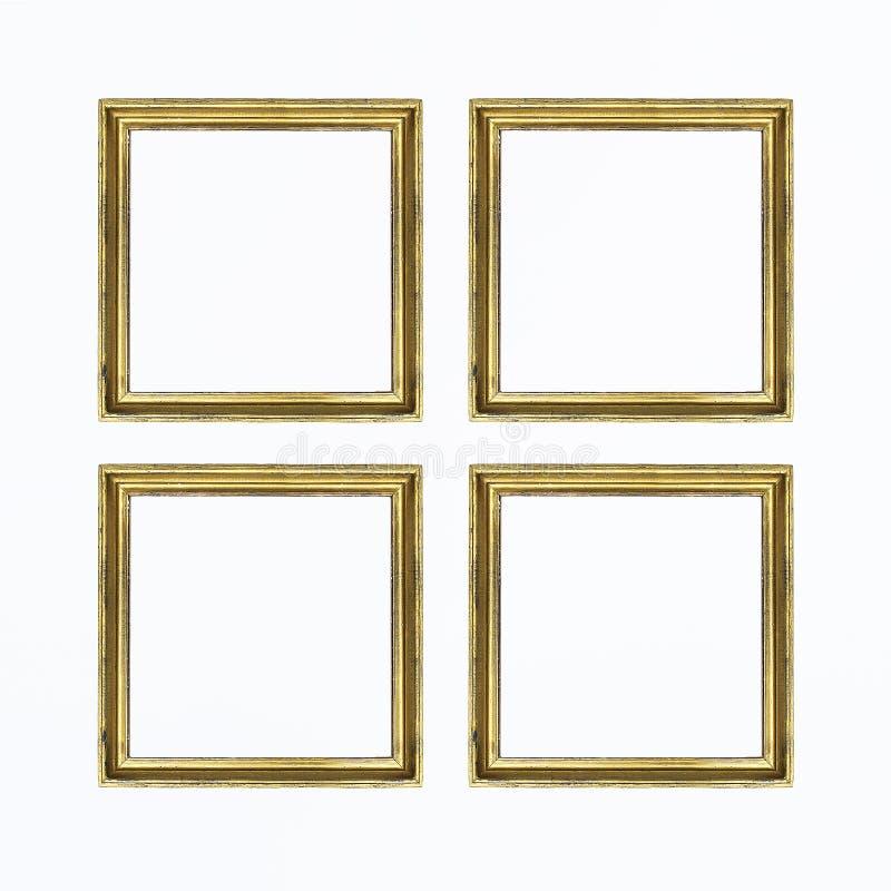 Quattro strutture quadrate dell'oro per la verniciatura o l'immagine su fondo bianco Isolato Aggiunga il vostro testo fotografie stock libere da diritti