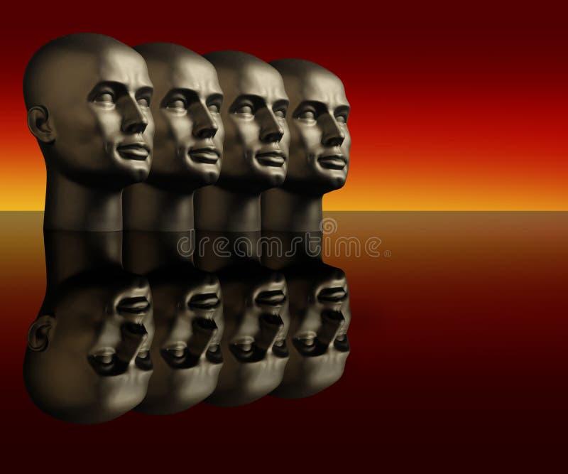 Quattro teste del mannequin su una superficie riflettente illustrazione vettoriale