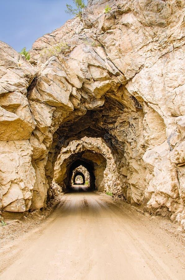 Quattro tunnel scavati manualmente fotografie stock libere da diritti