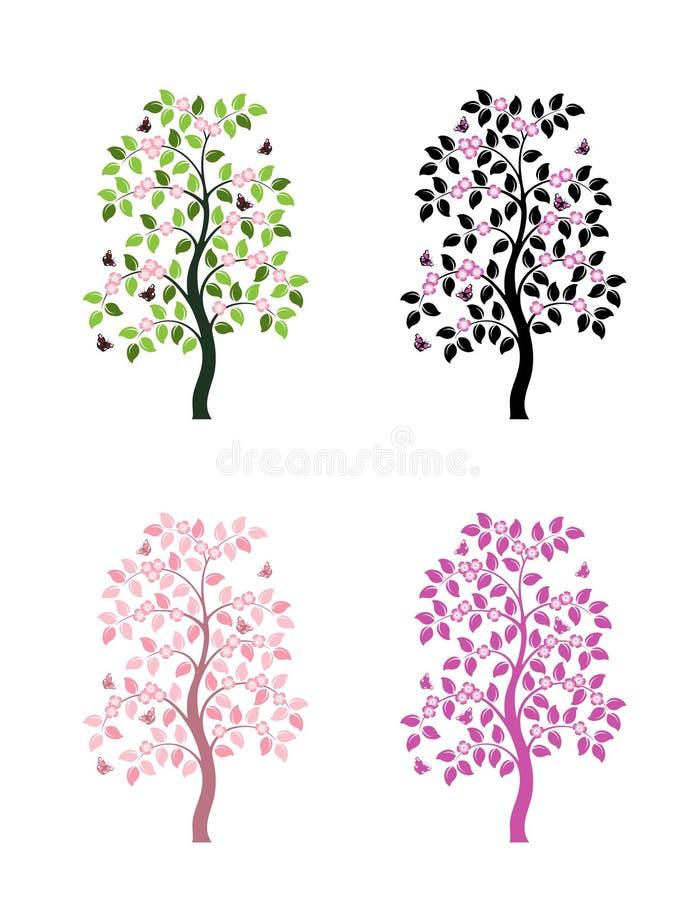 Quattro versioni dell'albero di fioritura illustrazione di stock