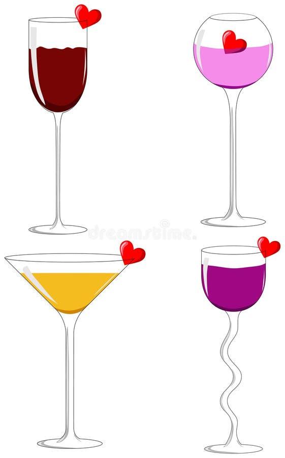 Quattro vetri di amore royalty illustrazione gratis