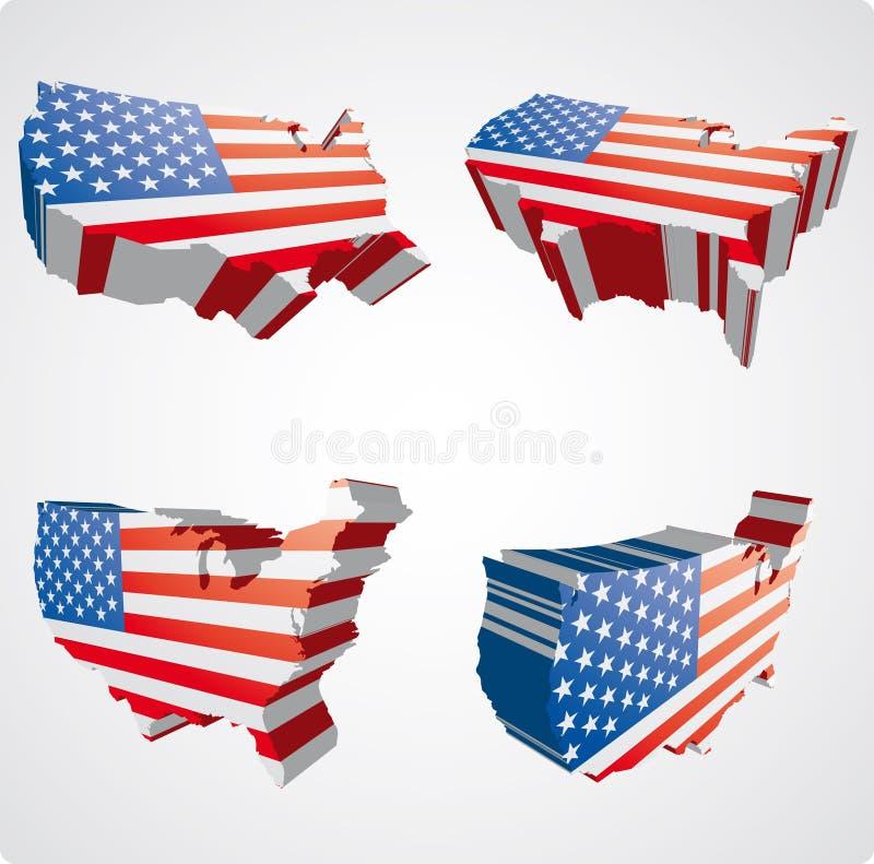 Quattro viste degli S.U.A. 3d illustrazione vettoriale