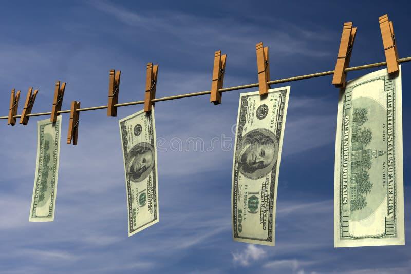 Quattrocento fatture del dollaro che appendono su un clothesline illustrazione vettoriale