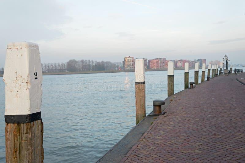 Quay along the Nieuwe Merwede stock image