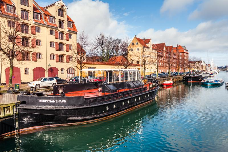 Quay of the Christianshavn canals in Copenhagen with boats, plea stock photo