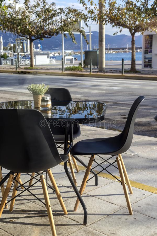 Quay of the city of Kalamata Greece, Prefecture of Messinia, Peloponnese. Cafeteria on the waterfront of the city of Kalamata Greece, Prefecture of Messinia royalty free stock photography