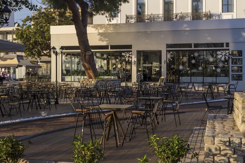 Quay of the city of Kalamata Greece, Prefecture of Messinia, Peloponnese. Cafeteria on the waterfront of the city of Kalamata Greece, Prefecture of Messinia royalty free stock photo