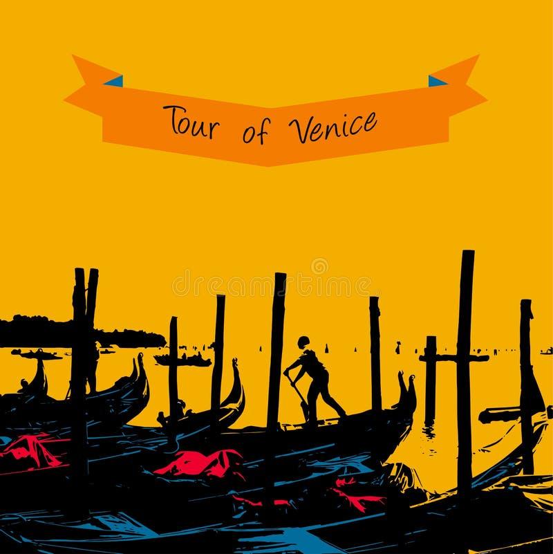 Quay gondole zbliża teren Mark w Wenecja royalty ilustracja