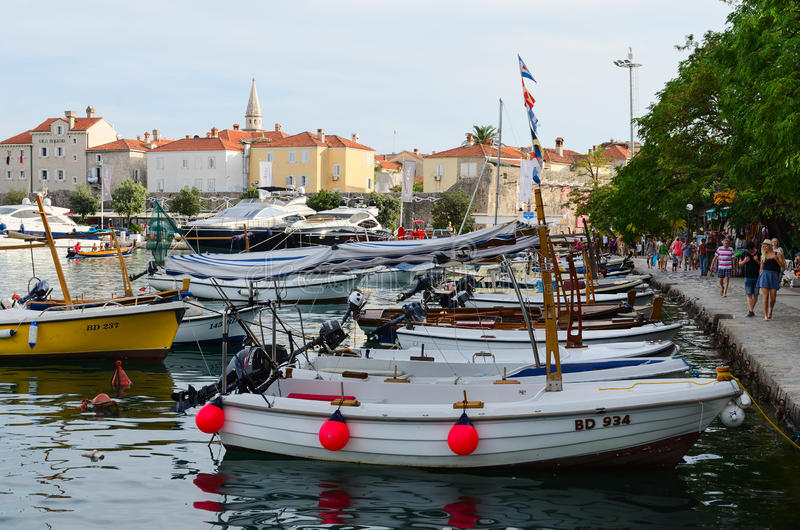 Quay near the Old Town, Budva, Montenegro stock image