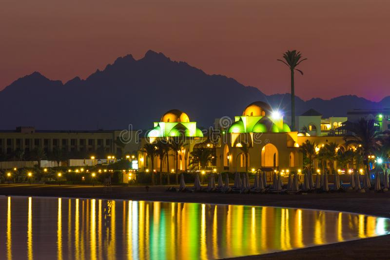 Quay  resort of Hurghada at night royalty free stock images