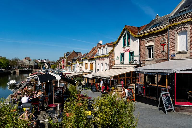 The quay of restaurants in Amiens in France. Saint-Leu is a district of Amiens, France. Crossed by canals, it presents a picturesque and very tourist character
