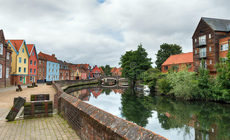 Quay Side in Norwich. Colourful town houses at Quay Side overlooking the river Yare in Norwich, Norolk royalty free stock image