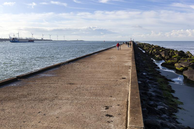 Quay side of river Meuse with North Sea on the right royalty free stock photo